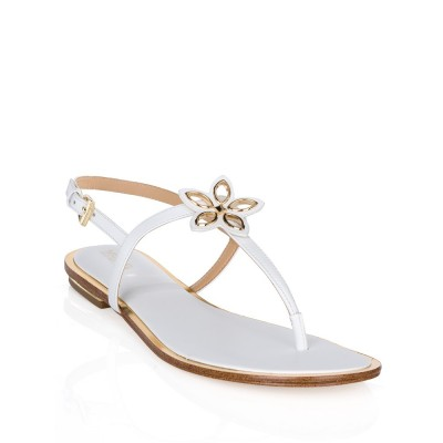 Michael Kors White Leather Justine Sandals