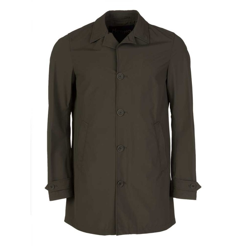 Herno Military Green Stretch Mac Jacket