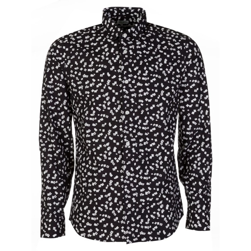 Kenzo Black Scattered Logo Shirt