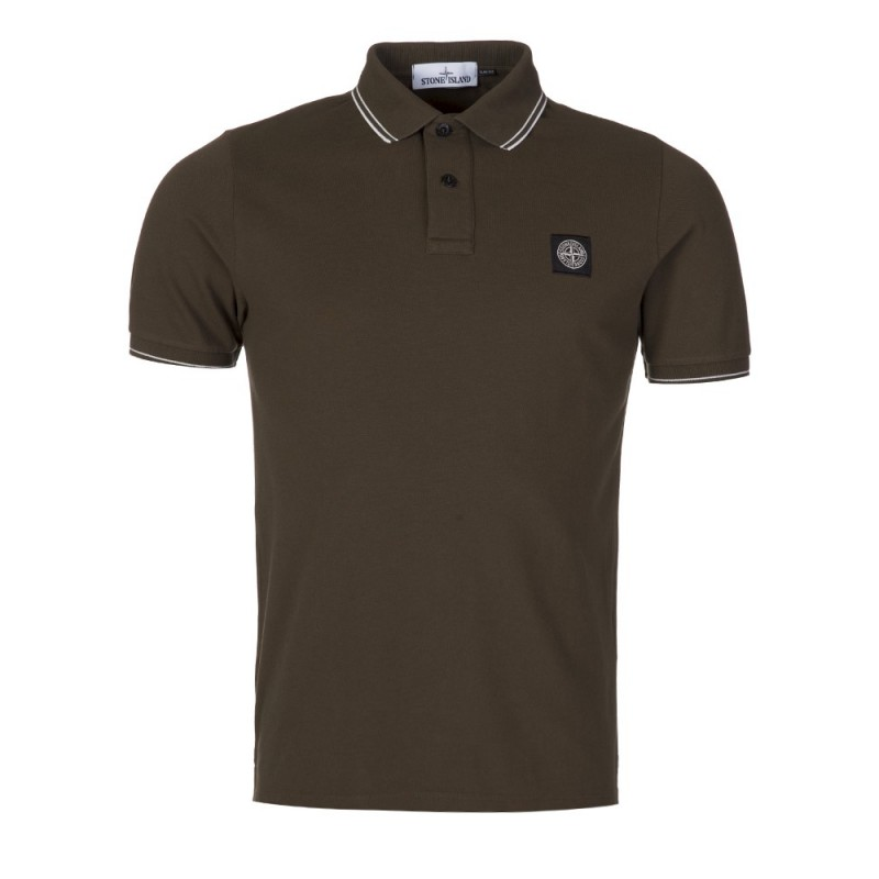 Stone Island Military Green Slim Fit Trim Polo Shirt