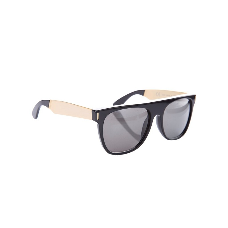 Super by RetroSuperFuture Black and Gold Flat Sunglasses