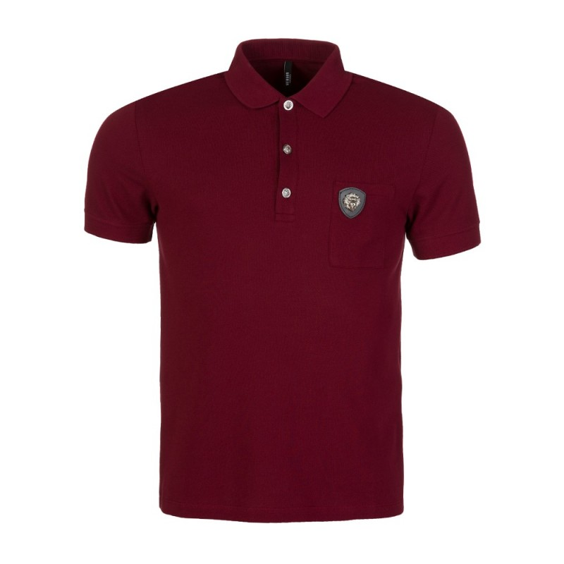 Versus Versace Burgundy Lion Pocket Polo Shirt