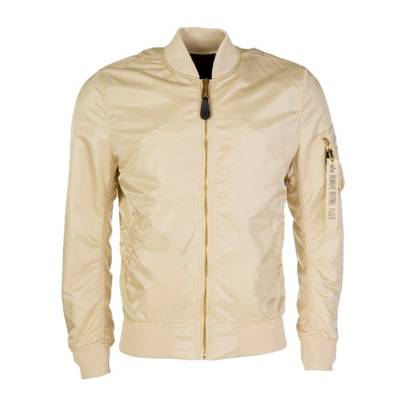 Alpha Industries Beige Contrast Zip MA-1 Jacket