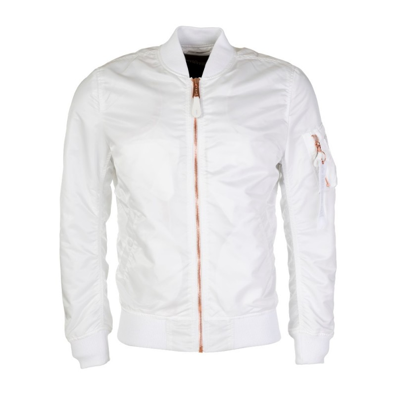 Alpha Industries White Contrast Zip MA-1 Jacket