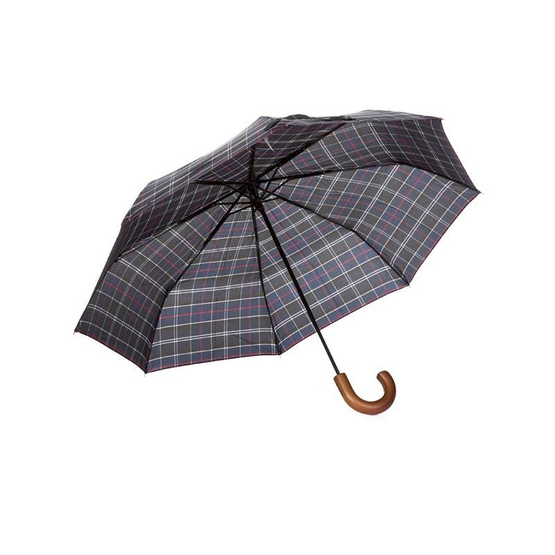 Barbour Navy Tartan Telescopic Umbrella