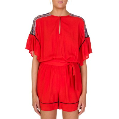 Conditions Apply Red Faith Embroidered Playsuit