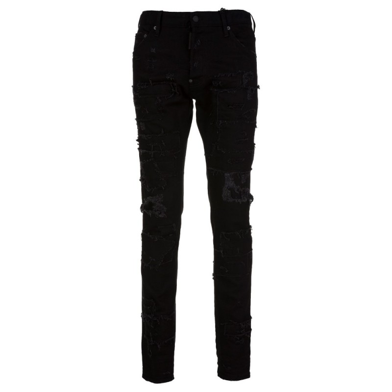 DSquared2 Black Distressed Patch Cool Guy Jeans