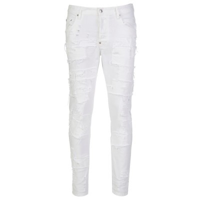 DSquared2 White Distressed Patch Cool Guy Jeans