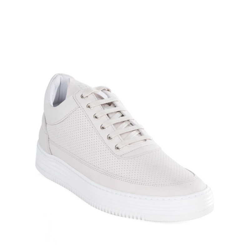 Filling Pieces White Low Top Perforated Tone Trainers