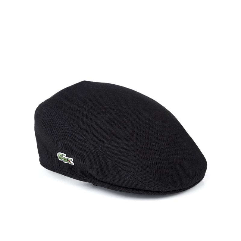 Lacoste Black Pique Flat Cap