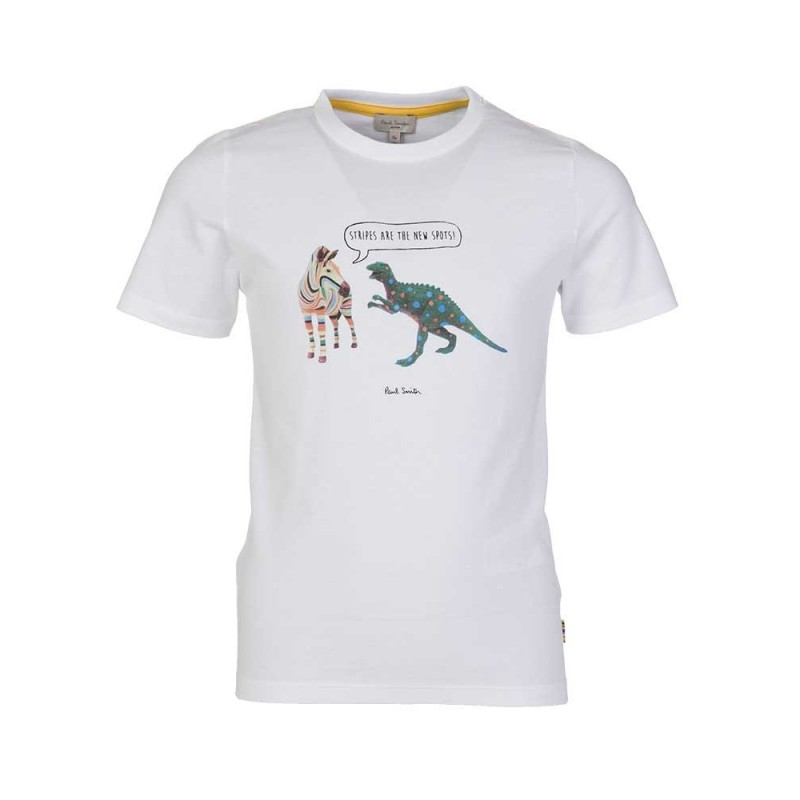 Paul Smith Junior White Stripes Vs Spots T-Shirt