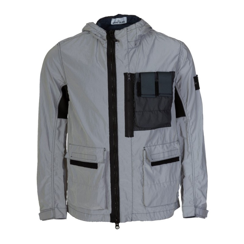 Stone Island Navy Plated Reflective Jacket