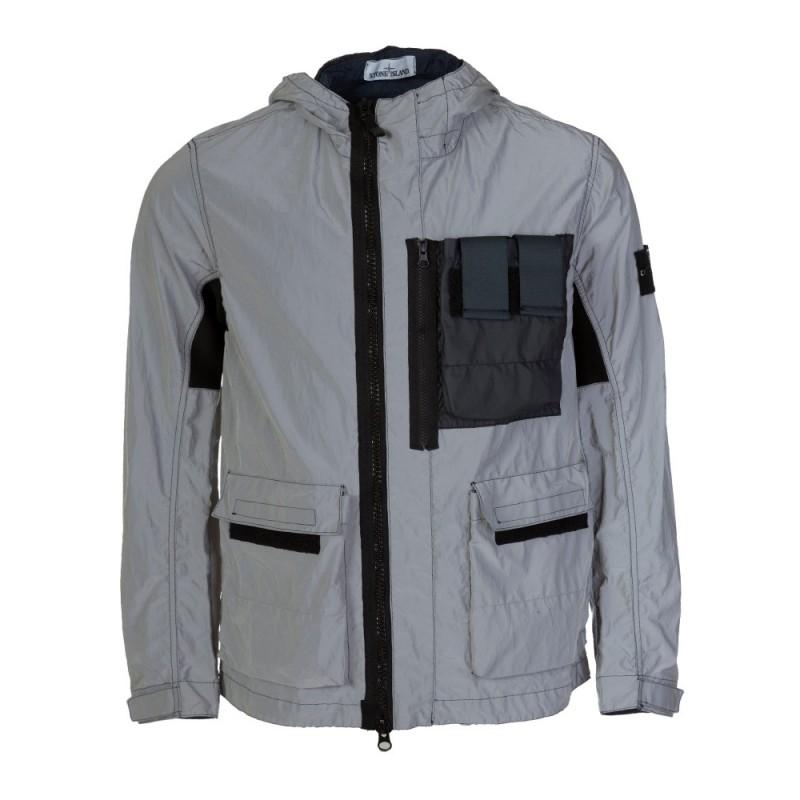 Stone Island Navy Plated Reflective Jacket