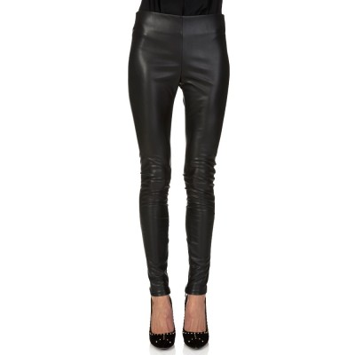 Velvet Black Faux Leather Leggings
