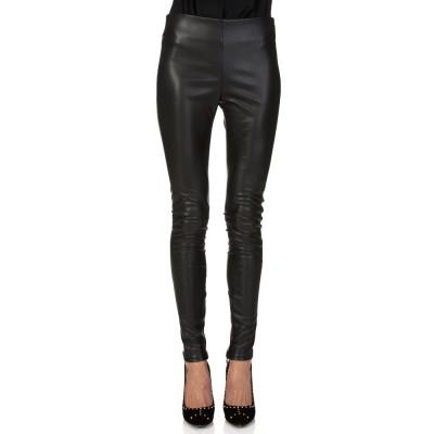 Velvet Black Faux Leather Leggings