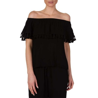 Velvet Black Tasselled Off-the-Shoulder Top