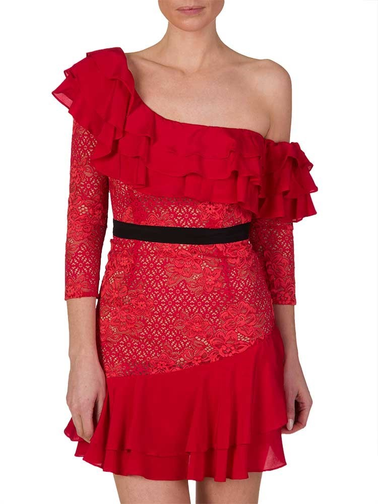 For Love and Lemons Red Chianti Off Shoulder Ruffle Dress