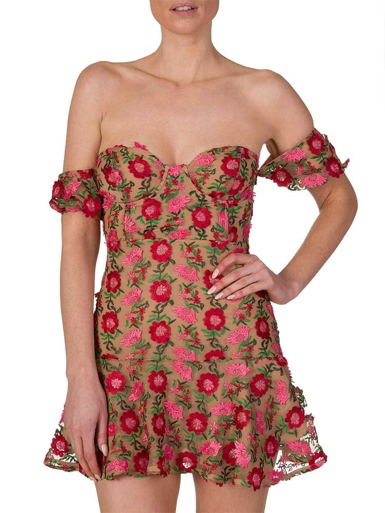 For Love and Lemons Red Amelia Strapless Mini Dress