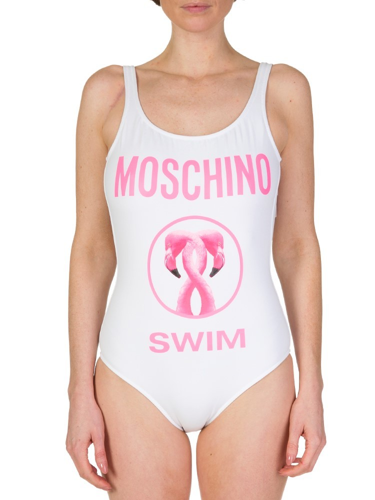 Moschino Swim White Flamingo Swimsuit