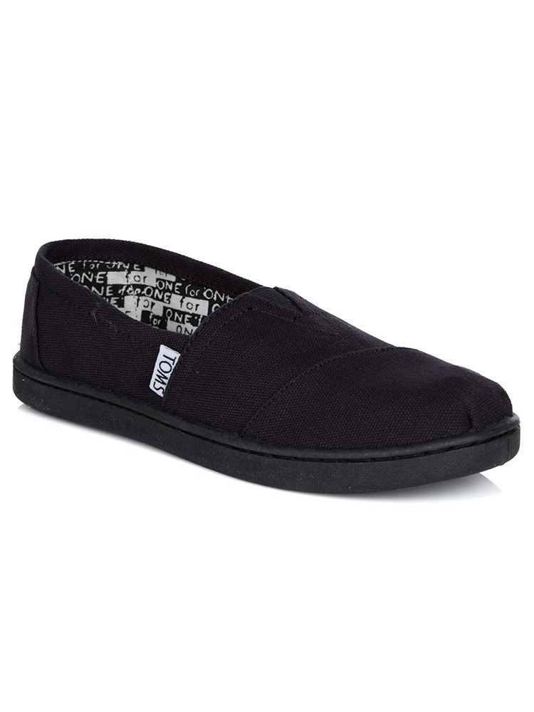 Toms Junior Black Canvas Youth Espadrilles