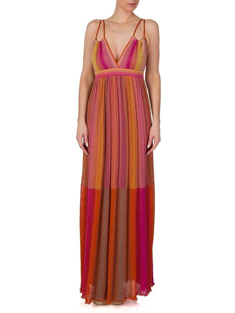 M Missoni Pink Striped Metallic Fine Knit Maxi Dress