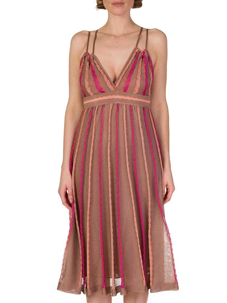 M Missoni Pink Knitted Striped Midi Dress