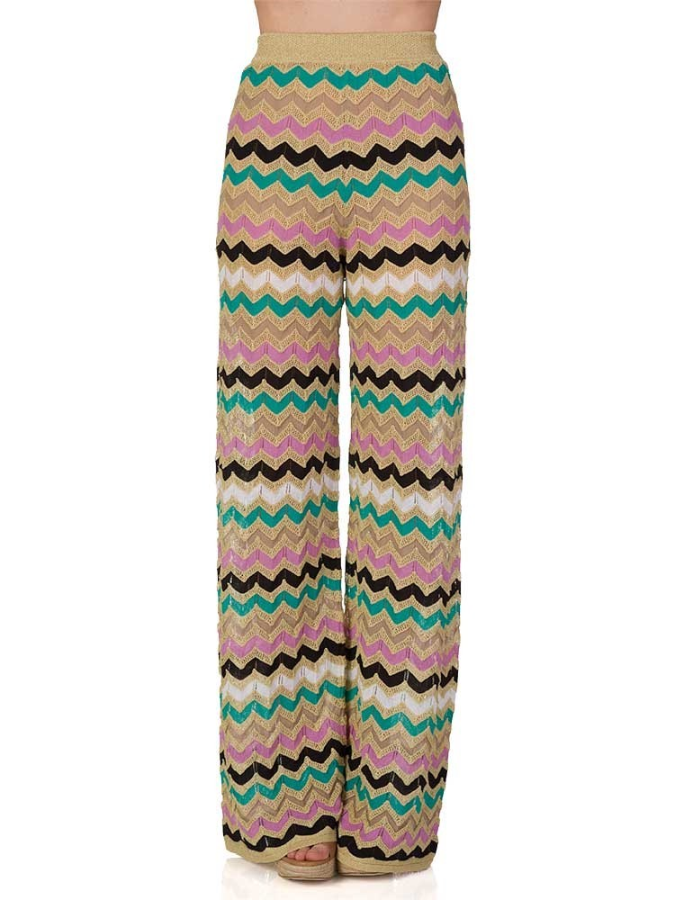M Missoni Gold Zig-Zag Knit Wide Leg Trousers