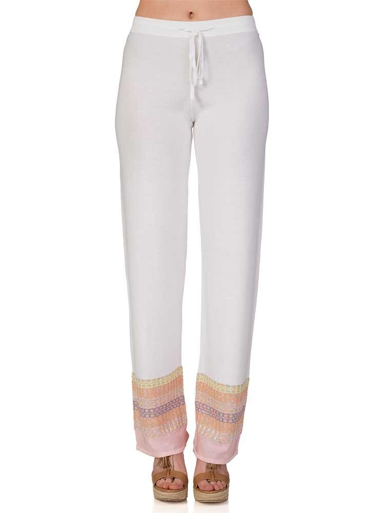 Ruth Erotokritou White Multicoloured Knit Trousers