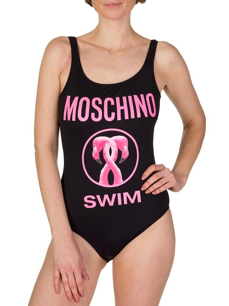 Moschino Swim Black Flamingo Swimsuit