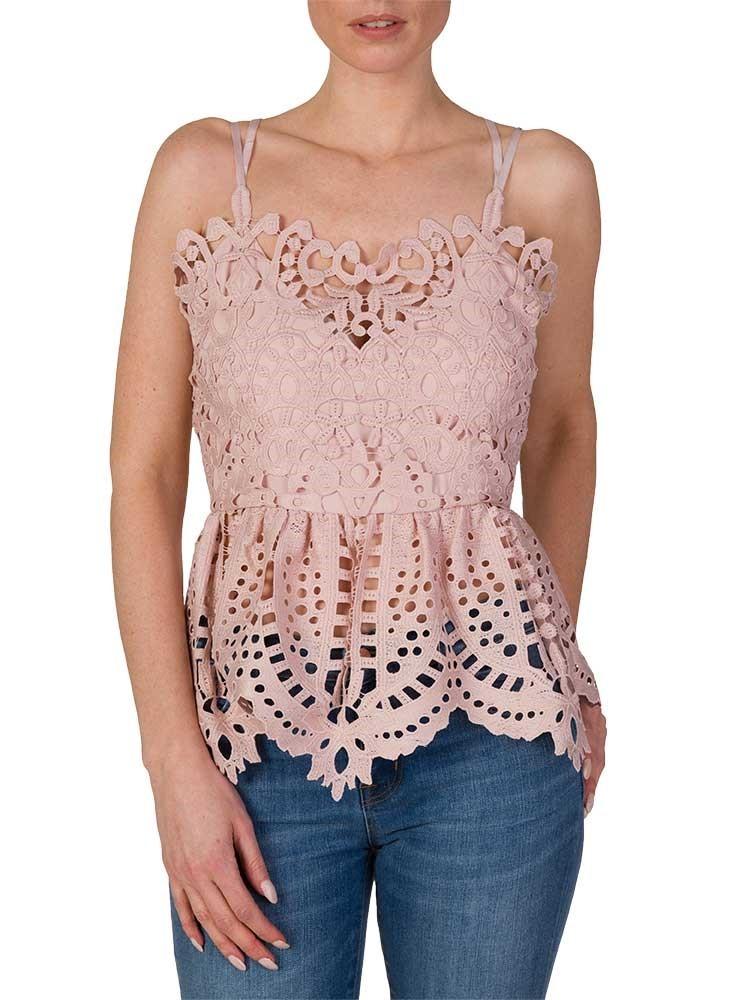 Perseverance Pink Baroque Lace Cami Top