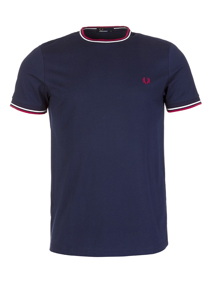 Fred Perry Navy Trim Collar T-Shirt