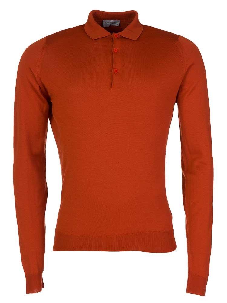John Smedley Flare Orange Belper Fine-Knit Wool Polo shirt