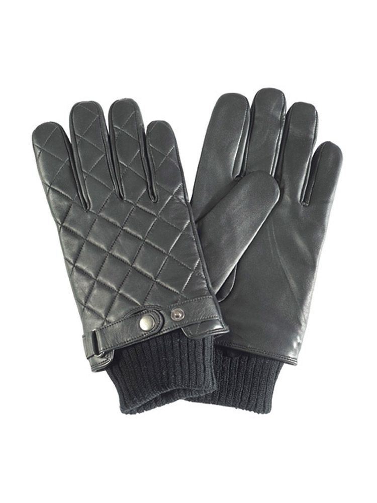 Barbour Black Quilted Leather Gloves