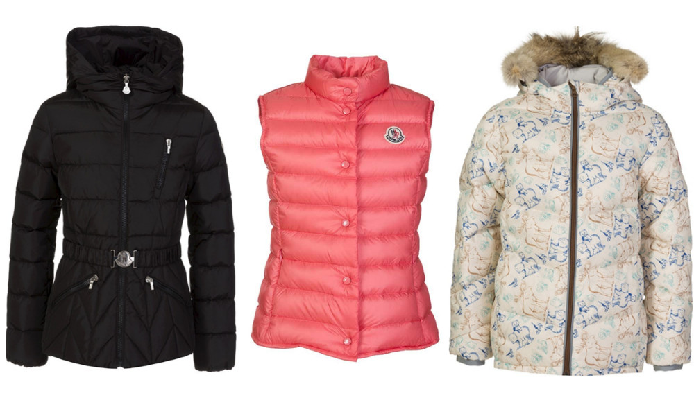 SHOP: Moncler Kids Black Bernadette Jacket/Moncler Kids Pink Puffer Gilet/Canada Goose Junior Cream Printed Taylor Jacket