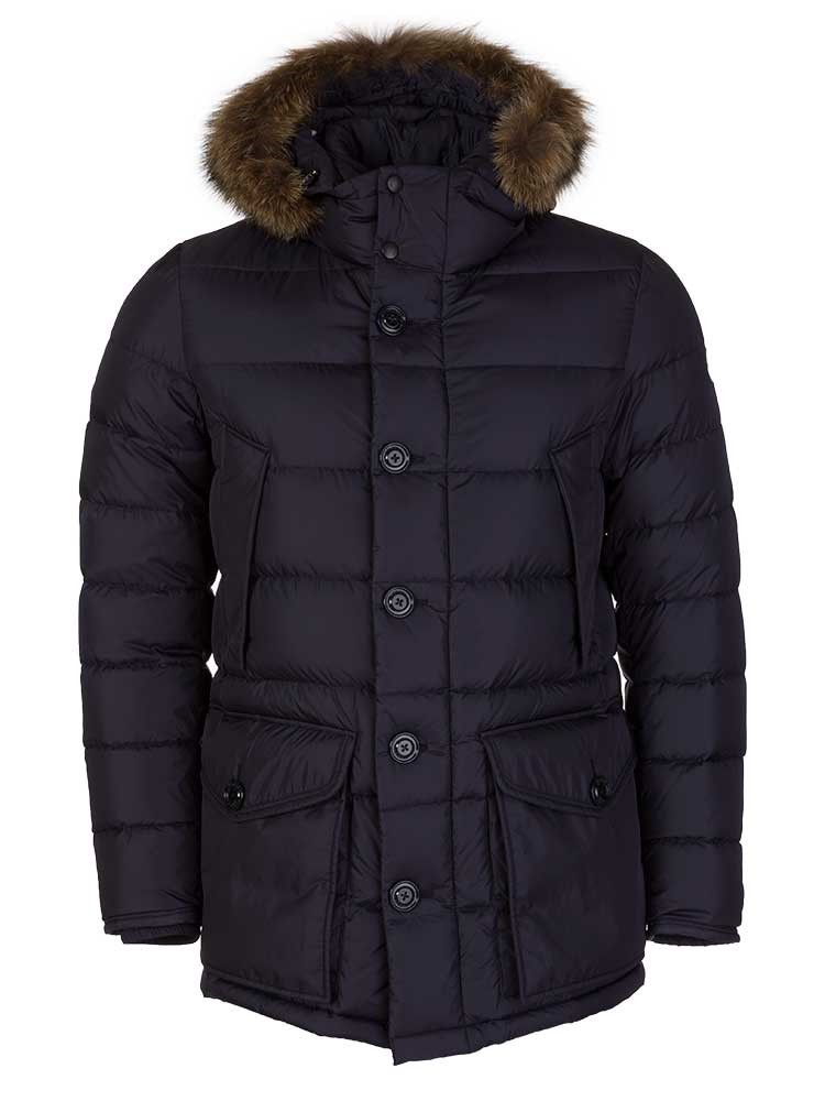 Moncler Navy Cluny Fur Trim Parka Coat