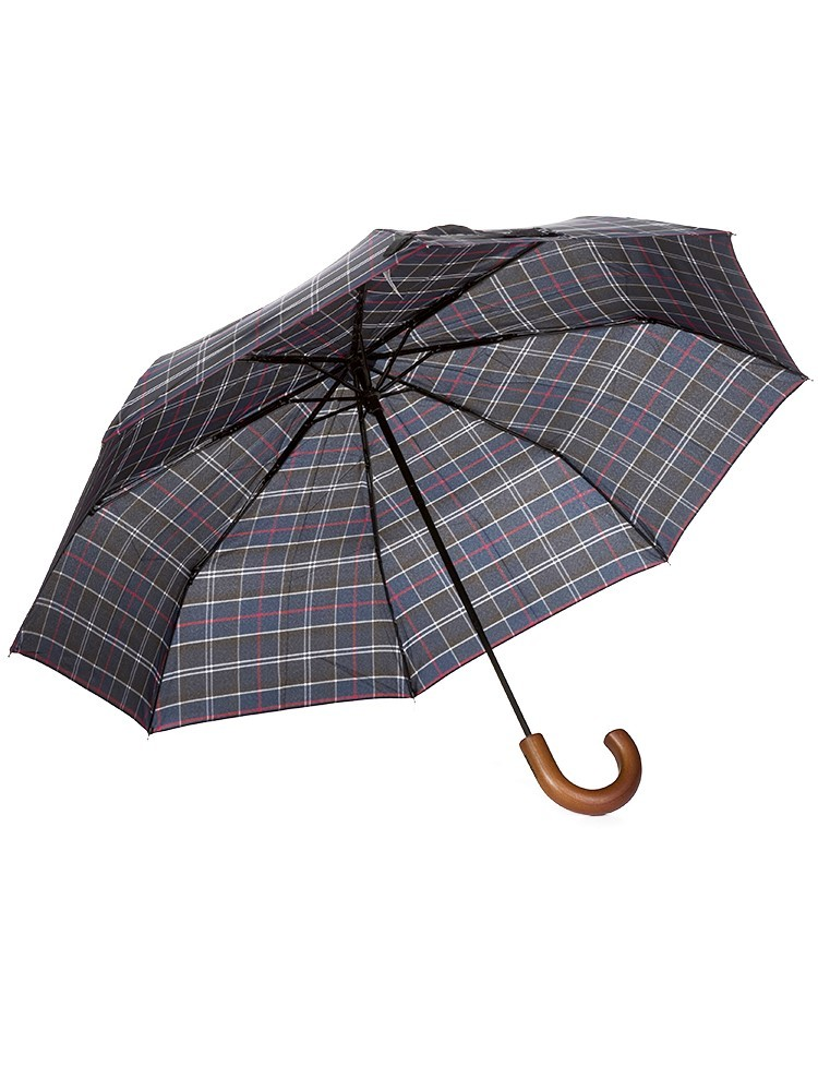 Barbour Navy Tartan Telescopic Umbrella