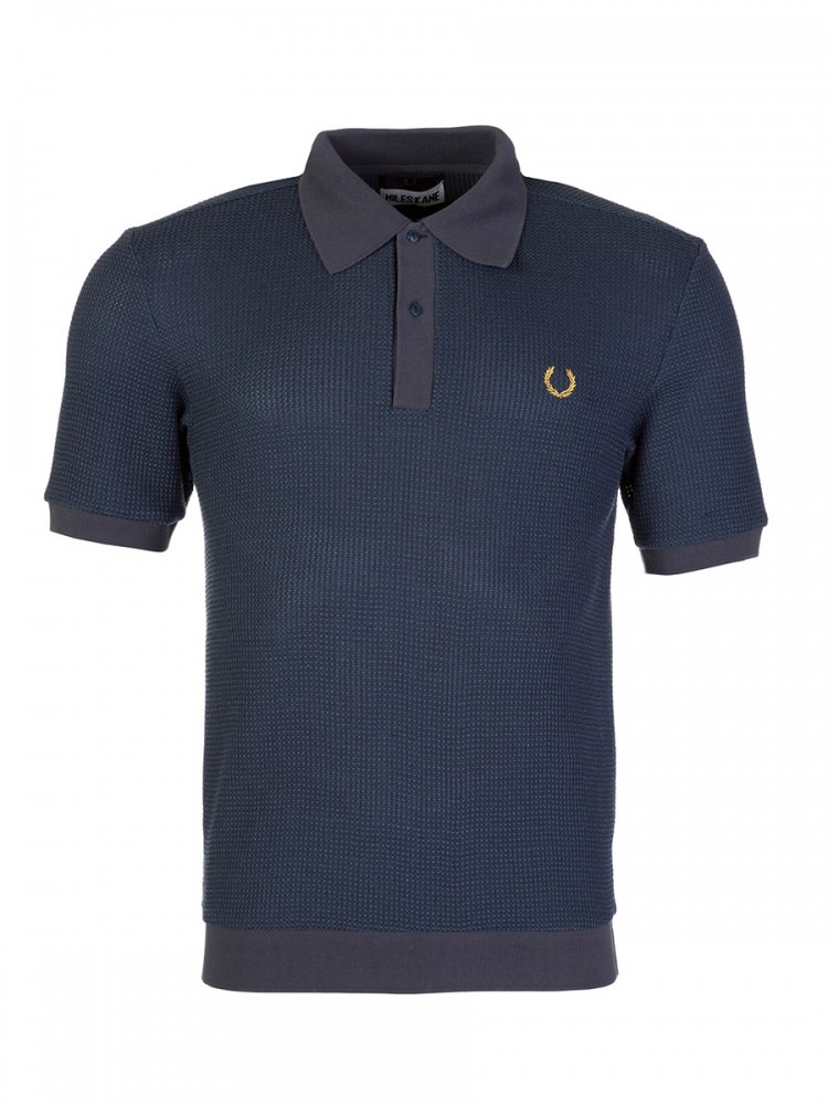 Fred Perry Blue Textured Knitted Polo Shirt