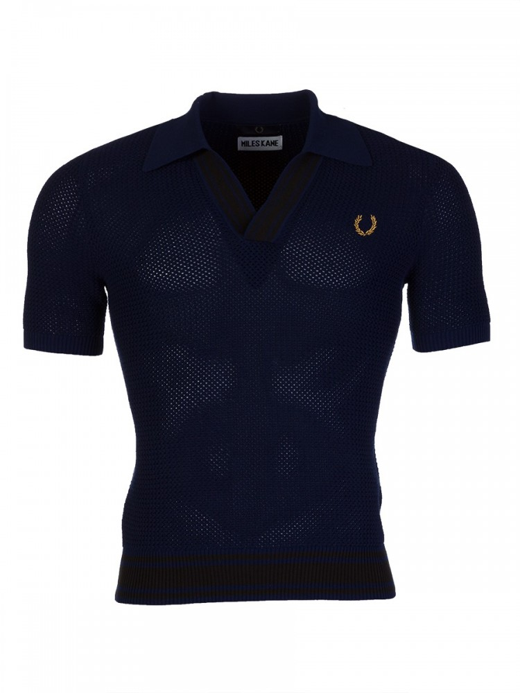 Fred Perry X Miles Kane Navy V-Neck Knit Shirt