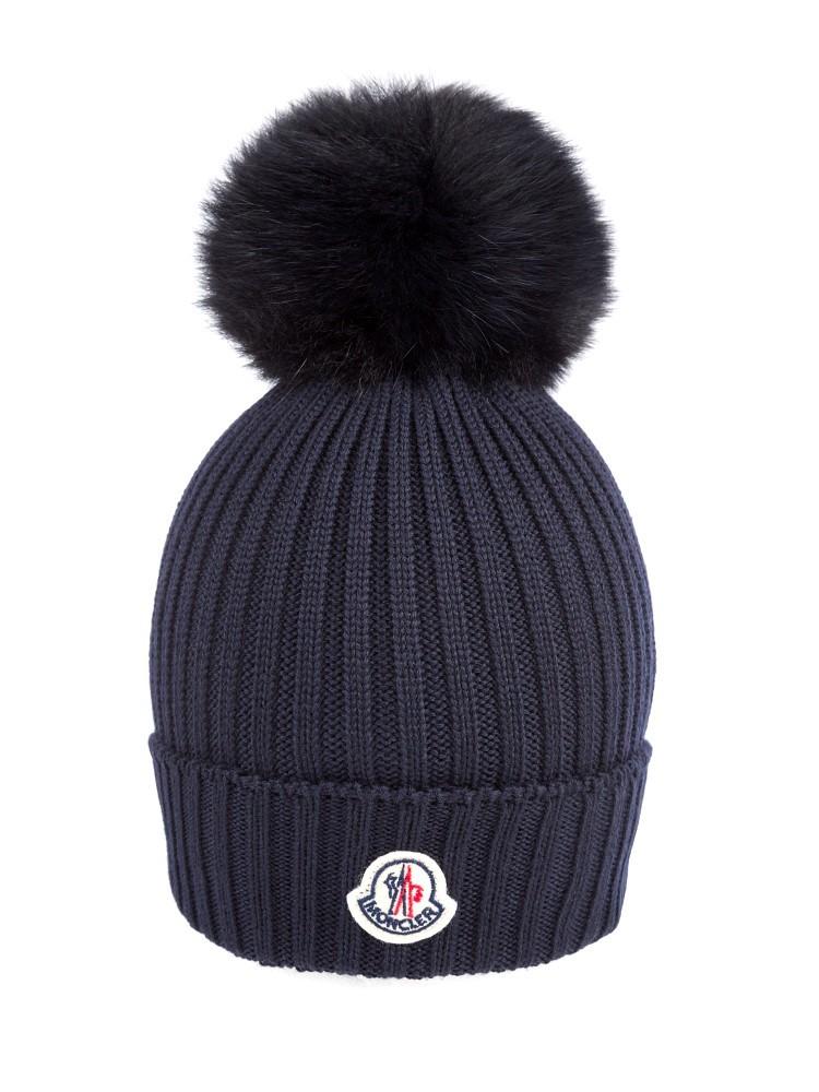Moncler Navy Pompom hat