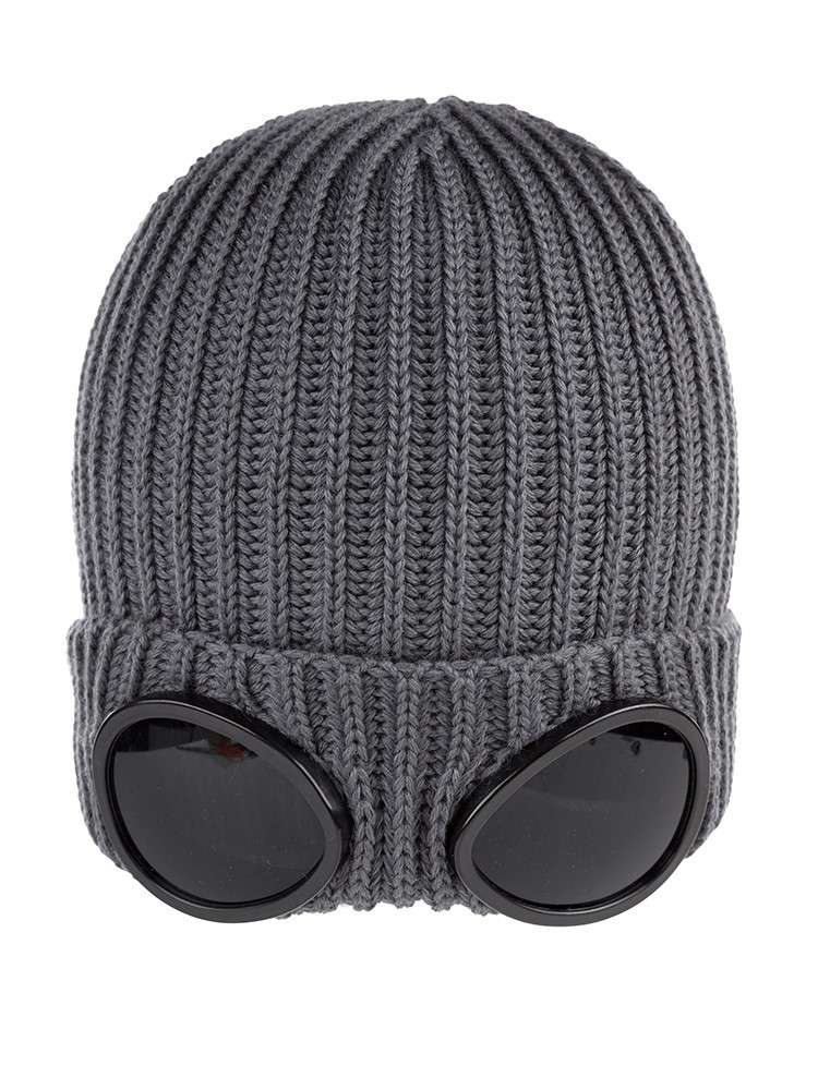 CP Company Grey Merino knitted goggle beanie