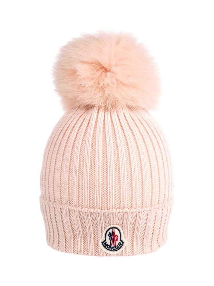 Moncler pink bobble hat