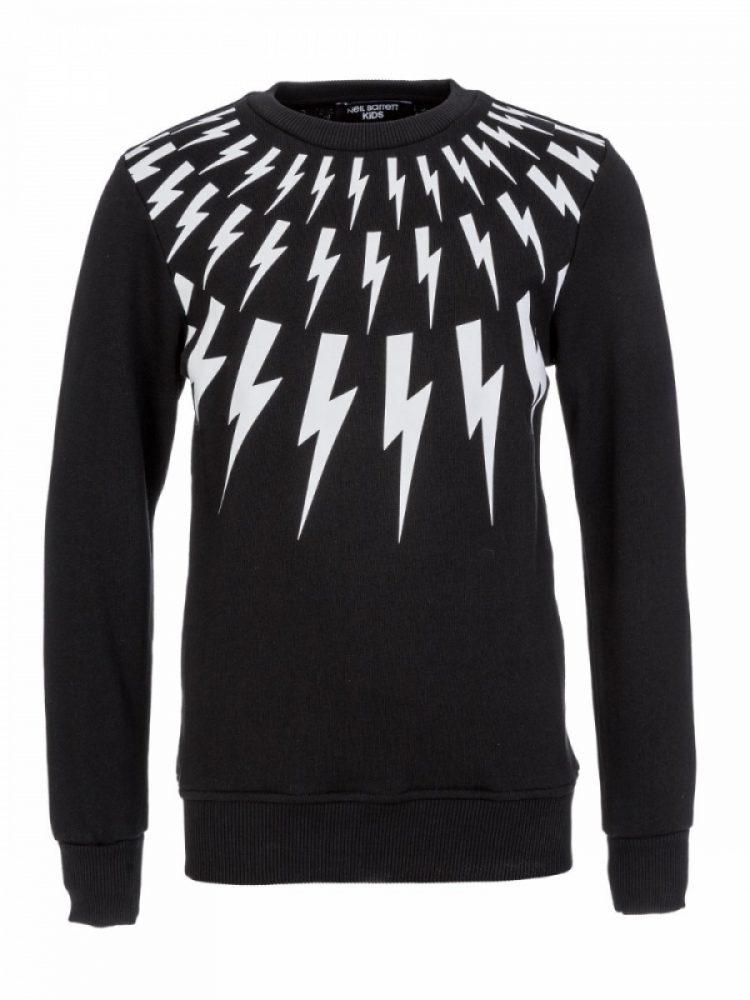 Neil Barrett Junior Black Lightning Bolt Sweatshirt