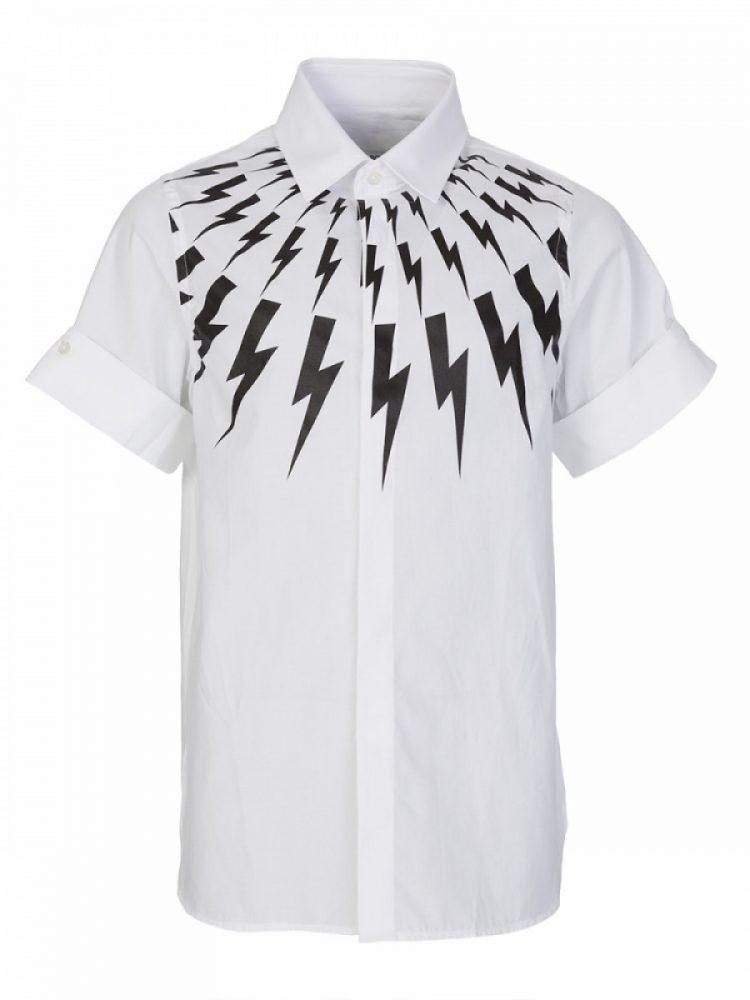 Neil Barrett Kids White Lightning Shirt