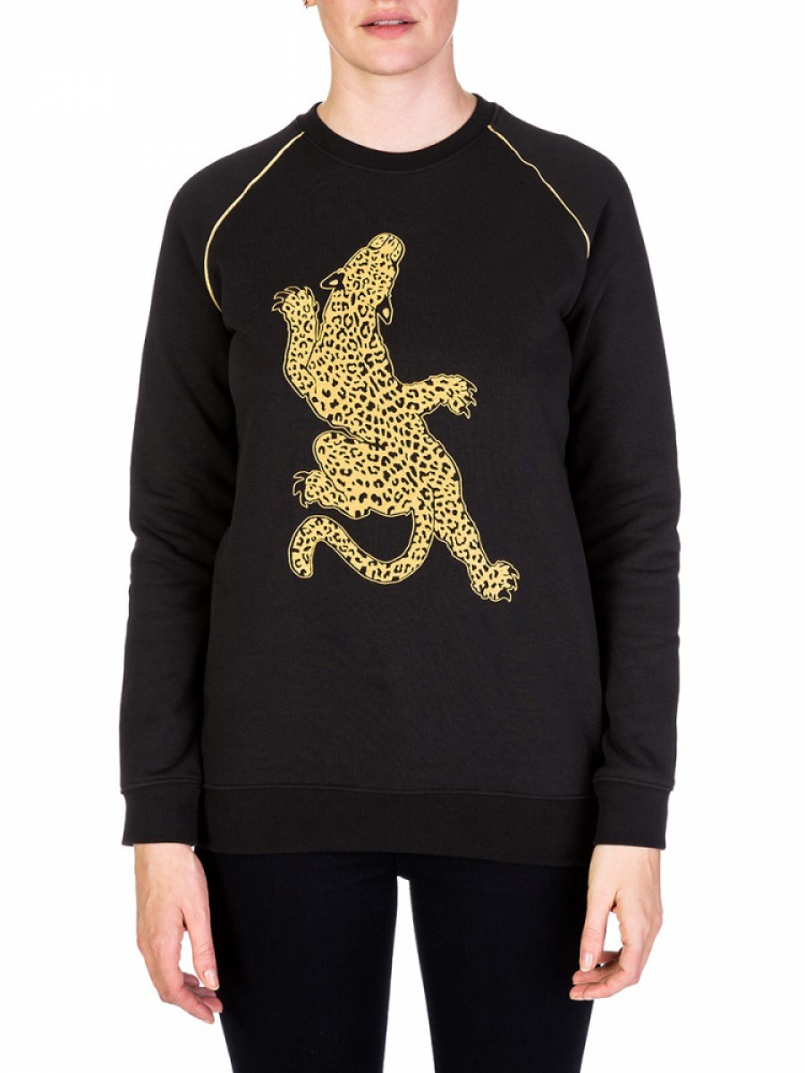 Zoe Karssen Black Climbing Leopard Sweatshirt