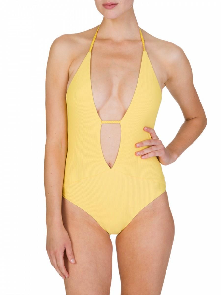 Frankies Bikinis Yellow Lily Swimsuit