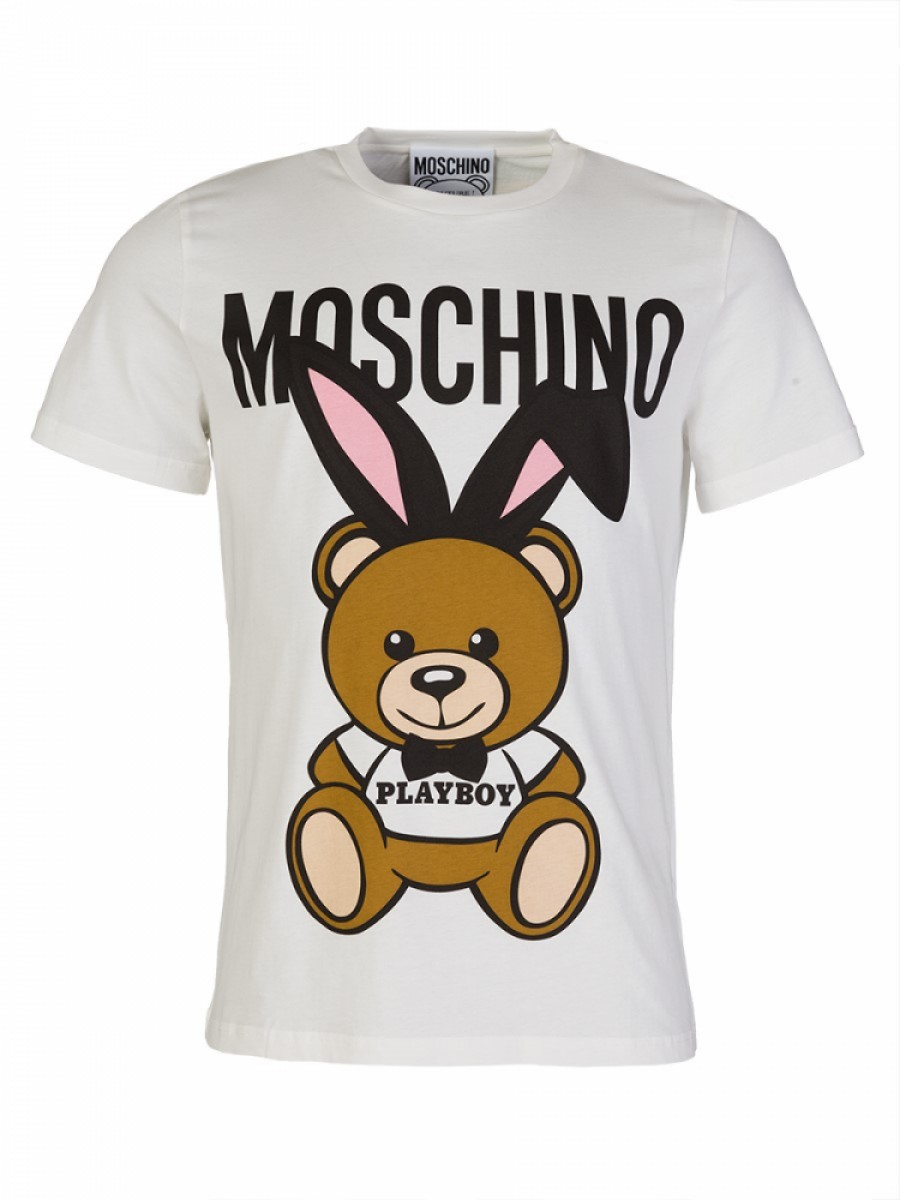 Moschino White Playboy Teddy Bear Oversized T-Shirt