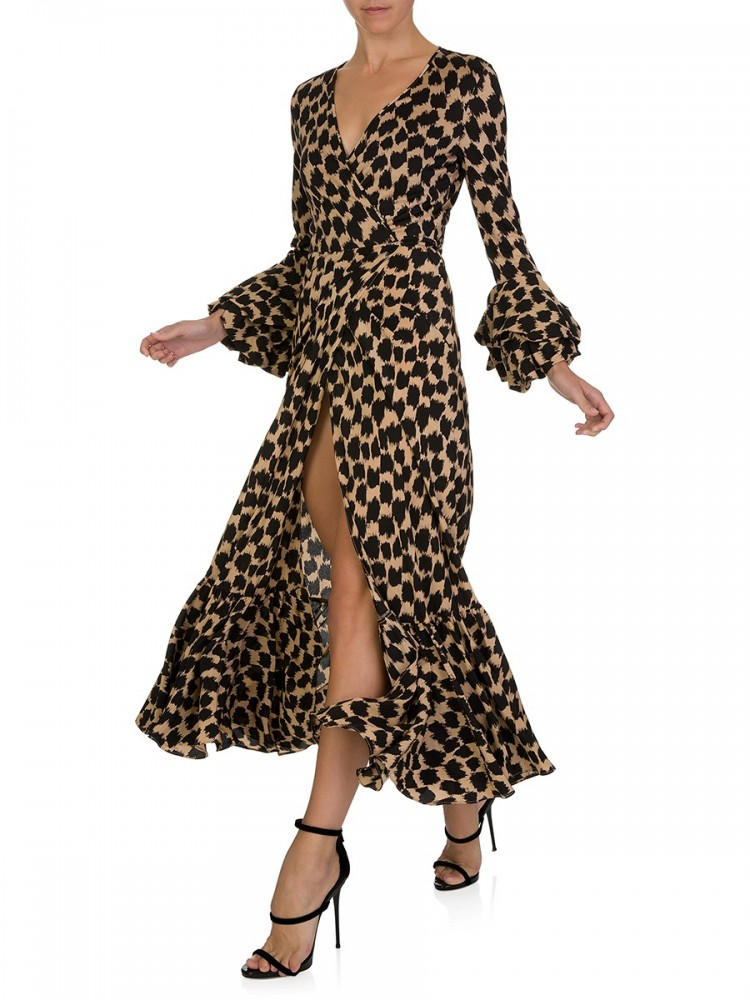 Diane Von Furstenberg Black Puff Sleeve Wrap Dress