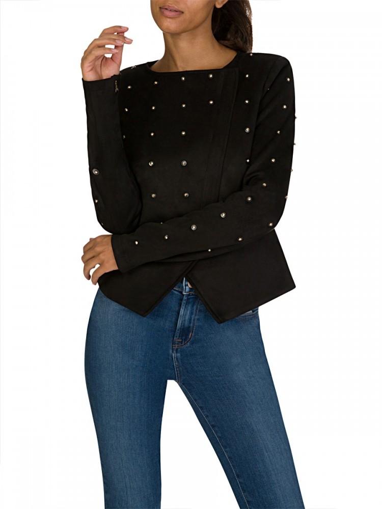 Patrizia Pepe Black Eco Suede Blazer Jacket