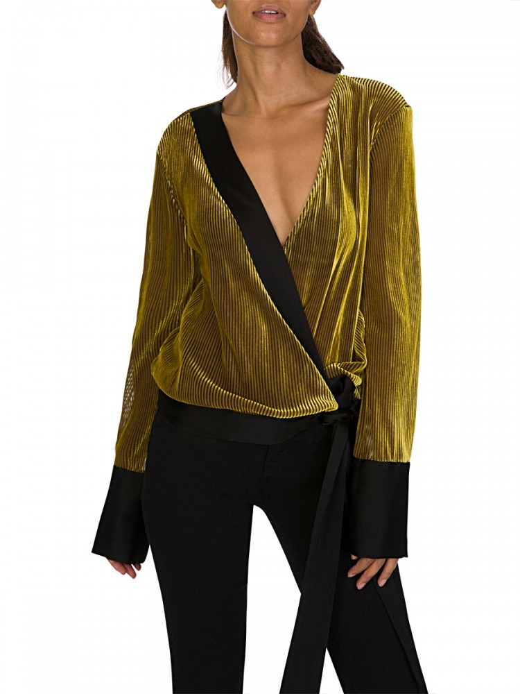 Diane Von Furstenberg Gold Cross Over Blouse