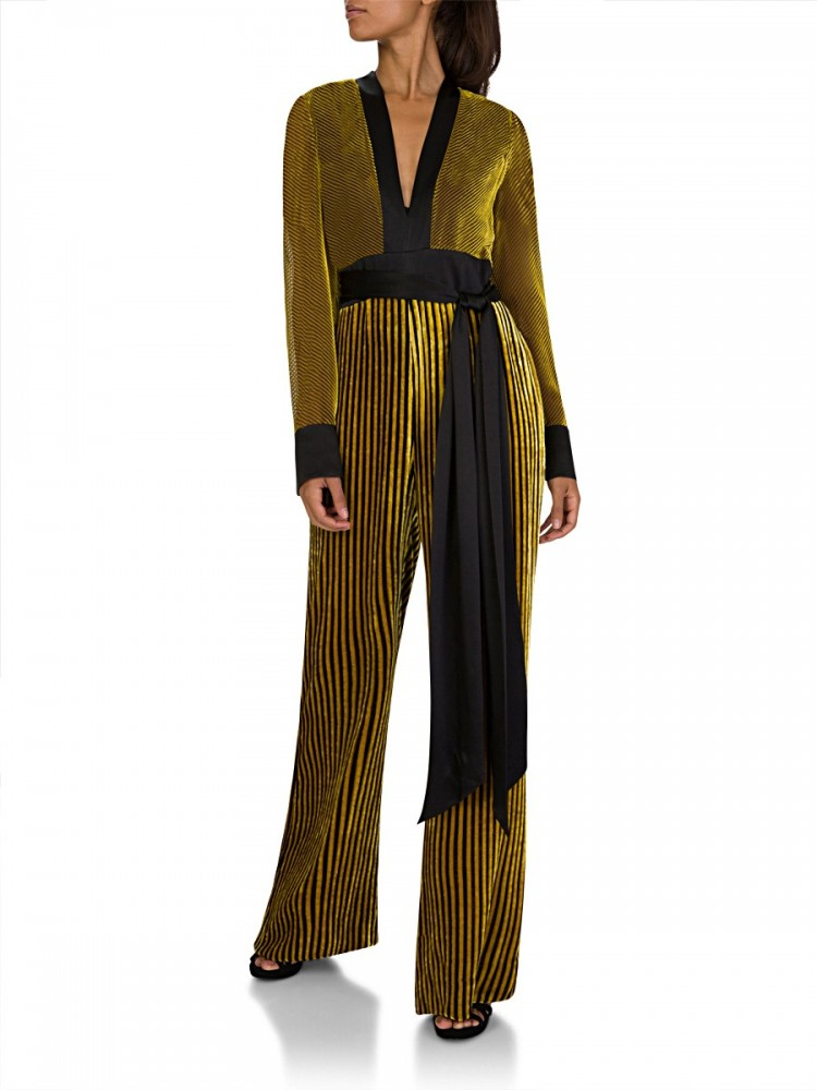 Diane Von Furstenberg Gold Sash Jumpsuit